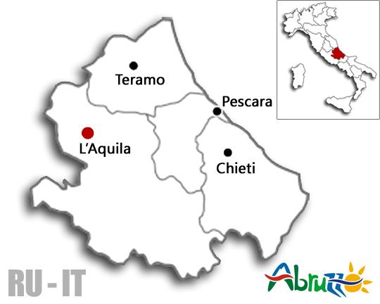 Регион Абруццо и его административные центры (Л'Аквила, Терамо, Кьети и Пескара) на карте Италии